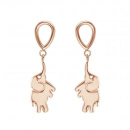 Boucles d'oreilles Eléphant, rose plaqué or