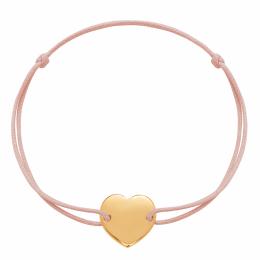Bracelet avec cœur plaqué or sur un cordon fin rose poudré