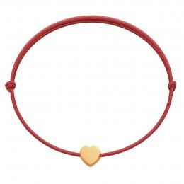 Bracelet Etincelle avec coeur en or 585 sur  cordon rouge fin