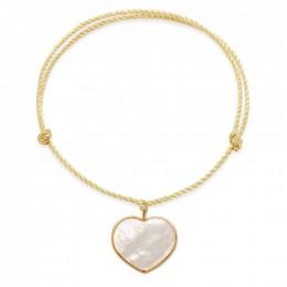 Bracelet avec un cœur en nacre avec bordure d'or poinçon 585 sur un cordon épais doré premium
