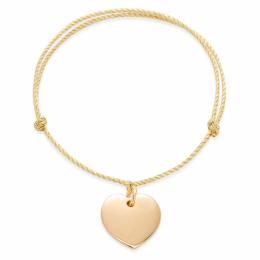 Bracelet avec un cœur sur un  cordon doré épais premium