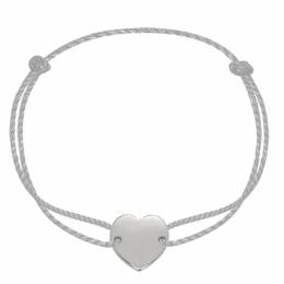 Bracelet avec un cœur en argent sur un cordon épais argenté premium.