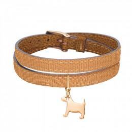 Bracelet en cuir double tour bicolore avec un petit chien plaqué or