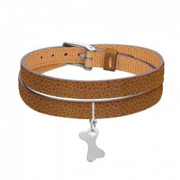 Bracelet en cuir double tour bicolore avec un os en argent