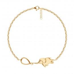 Bracelet chaîne Eléphant, plaqué or