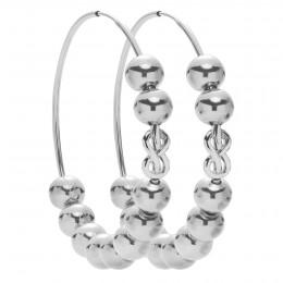 Boucles d'oreilles Eternity de 5 cm en argent avec des perles en argent