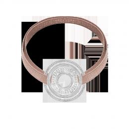 Bracelet avec élément ETNO plaqué argent sur ruban beige