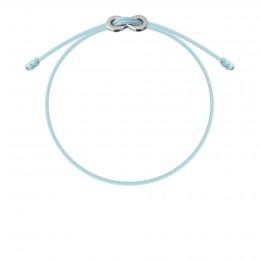 Bracelet avec fermoir Infinity plaqué argent sur cordon fin bleu ciel