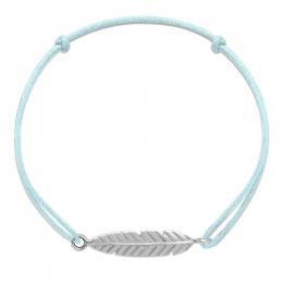 Bracelet Plume en argent sur un cordon fin bleu clair