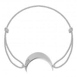 Bracelet Lune en argent sur un cordon épais en argent premium