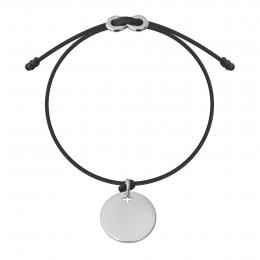 Bracelet avec médaillon argent et fermoir Infinity sur cordon fin noir
