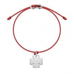 Bracelet avec trèfle argent et fermoir Infinity sur cordon fin rouge