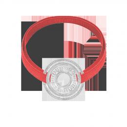 Bracelet avec élément ETNO plaqué argent sur ruban corail