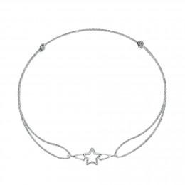 Bracelet avec une étoile ailée en argent sur un cordon fin argenté premium