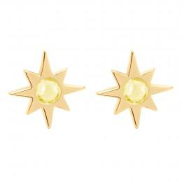Boucles d'oreilles Star plaquées or avec une citrine