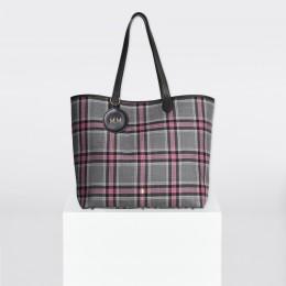 Sac Shopper à carreaux gris-rose et  porte-clé personnalisé en forme de médaillon