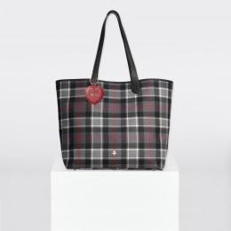 Sac Shopper à carreaux rouge-graphite et porte-clé rouge personnalisé en forme de cœur