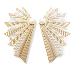 Boucles d'oreilles Éventail, plaqué or