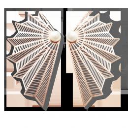 Boucles d'oreilles Éventail, plaqué or rose