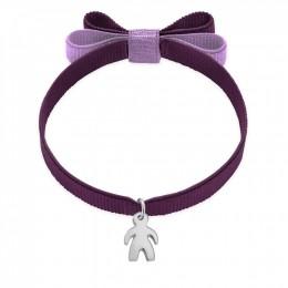 Bracelet ruban double nœud de couleur violette avec un garçon en argent