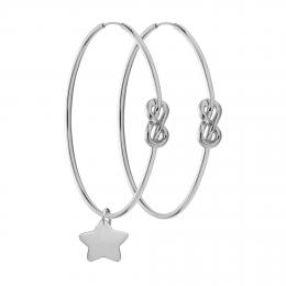 Ensemble de boucles d'oreilles Eternity de 4 cm en argent avec une Étoile en argent