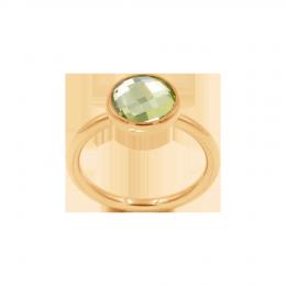 Bague avec quartz vert, plaqué or
