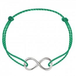 Bracelet avec un signe de l'infini en argent sur un cordon épais vert premium