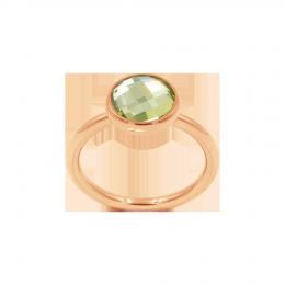 Bague avec quartz vert, plaqué or rose