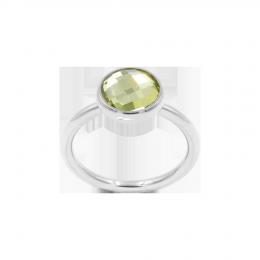 Bague avec quartz vert, plaqué argent