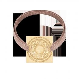 Bracelet avec élément ETNO plaqué or sur ruban beige