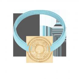Bracelet avec élément ETNO plaqué or sur ruban bleu ciel