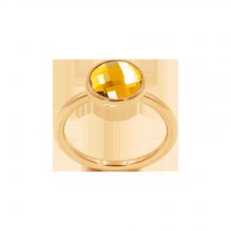 Bague avec quartz jaune, plaqué or
