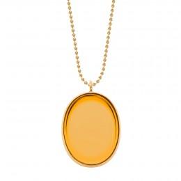 Collier avec médaillon plaqué or, rehaussé d'un cristal Bohème de couleur orange, sur une chaîne maille boules