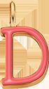 Pendentif Sens 1 cm, D, émail corail, plaqué or