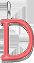 Pendentif Sens 1 cm, D, émail corail, plaqué argent