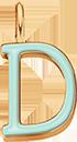 Pendentif Sens 1 cm, D, émail menthe, plaqué or