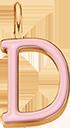 Pendentif Sens 1 cm, D, émail rose, plaqué or