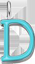 Pendentif Sens 1 cm, D, émail turquoise, plaqué argent