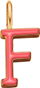 Pendentif Sens 1 cm, F, émail corail, plaqué or
