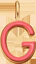 Pendentif Sens 1 cm, G, émail corail, plaqué or