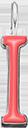 Pendentif Sens 1 cm, I, émail corail, plaqué argent