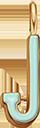 Pendentif Sens 1 cm, J, émail menthe, plaqué or