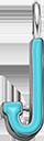 Pendentif Sens 1 cm, J, émail turquoise, plaqué argent