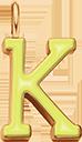 Pendentif Sens 1 cm, K, émail jaune, plaqué or
