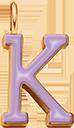 Pendentif Sens 1 cm, K, émail violet, plaqué or