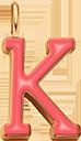 Pendentif Sens 1 cm, K, émail corail, plaqué or