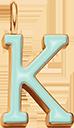 Pendentif Sens 1 cm, K, émail menthe, plaqué or