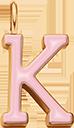 Pendentif Sens 1 cm, K, émail rose, plaqué or