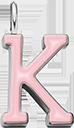 Pendentif Sens 1 cm, K, émail rose, plaqué argent
