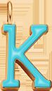 Pendentif Sens 1 cm, K, émail turquoise, plaqué or